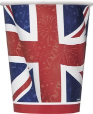 8 Union Jack Paper Party Cups